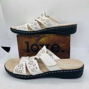 Crofts & Barrow White Slide On Open Toe Sandals -9